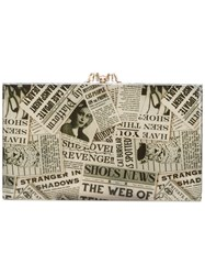 Charlotte Olympia Gazette Print Clutch Methyl Methacrylate Nude Neutrals