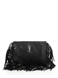 Saint Laurent Monogram Fringed Leather Pouch Black