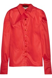 Ronald Van Der Kemp Oversized Silk Trimmed Cotton Sateen Shirt Red