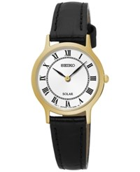 Seiko Women's Solar Dress Black Leather Strap Watch 26Mm Sup304 No Color