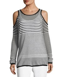 Tahari By Arthur S. Levine Striped Cold Shoulder Top Black White
