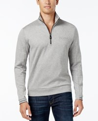 Hugo Boss Green Men's Parthenon Quarter Zip Sweater Light Grey Pastel