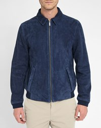 Calvin Klein Navy Lao Suede Jacket With Hidden Press Studs On Pocket