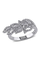 Sterling Silver Diamond Cutout Leaf Ring 0.20 Ctw Metallic