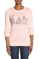 Petite Women's Halogen Embroidered Crewneck Sweater Pink Peony Paris Pattern