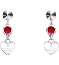 Gucci Trademark Rhodium Silver Heart Earrings
