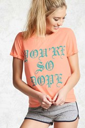 Forever 21 So Dope Graphic Pj Tee Orange Green