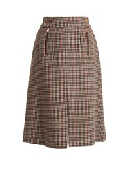 See By Chloe Hound's Tooth Wool Blend A Line Skirt Brown Multi