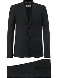 Saint Laurent Classic Two Piece Suit Men Silk Cotton Virgin Wool 52 Black