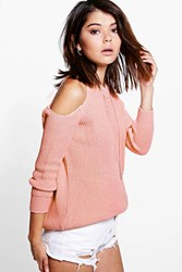 Boohoo Open Shoulder Jumper Blush