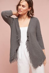 Anthropologie Textured Fringe Cardigan Moss