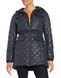 Kate Spade Diamond Quilted Hooded Coat Deep Navy Blue