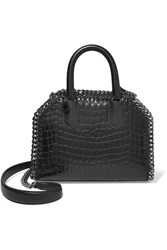 Stella Mccartney The Falabella Croc Effect Faux Leather Tote Black