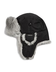 Crown Cap Rabbit Fur Accented Trapper Hat Black