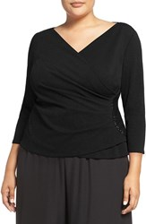 Alex Evenings Plus Size Women's Beaded Faux Wrap Blouse