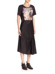 Maison Martin Margiela Satin Short Sleeve Graphic T Shirt Dress Black