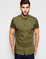 Asos Military Shirt In Khaki With Double Pockets In Regular Fit Khaki Green