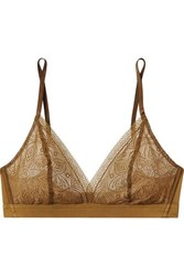 Hanro Moa Lace And Stretch Tulle Soft Cup Triangle Bra Bronze