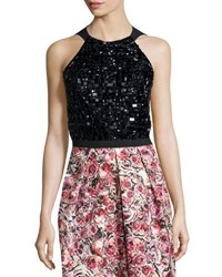 Phoebe Couture Sleeveless Beaded Halter Top Black