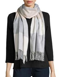 Lord And Taylor Fringed Plaid Blacket Wrap Ivory
