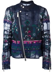 Sacai Tribal Lace Embroidered Biker Jacket Blue