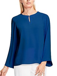 Vince Camuto Bell Sleeve Keyhole Blouse Blue