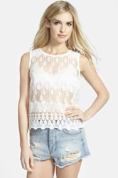 J.O.A. Sheer Lace Shell White