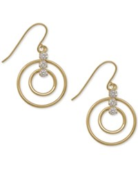 Macy's Open Circle Cubic Zirconia Drop Earrings In 10K Gold