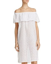Echo Off The Shoulder Eyelet Dress Swim Cover Up White