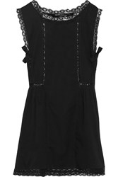 W118 By Walter Baker Bria Lace Trimmed Cotton Mini Dress Black