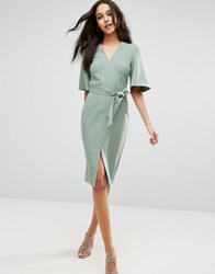 Asos Clean Obi Wrap Dress With V Front Mint Green