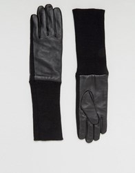 Asos Leather Gloves With Ribbed Cuff In Black Black