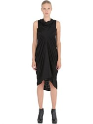Rick Owens Gathered Wool Jersey Long Dress