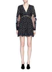 Self Portrait 'Daisy Dot' Floral Guipure Lace Rompers Black