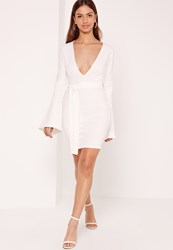 Missguided Belted Plunge Bodycon Dress White
