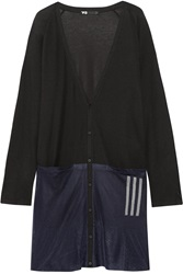 Y 3 Mesh Paneled Modal And Cotton Blend Cardigan Black