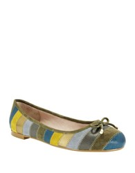 Nina Penny Striped Suede And Leather Flats Petrol Multi