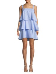 Design Lab Lord And Taylor Tiered Day Dress Blue White