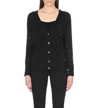Juicy Couture Jewelled Leopard Print Cardigan Pitch Black
