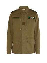Saint Laurent Sweet Dreams Embellished Back Parka Green