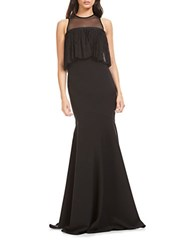 Theia Ruffled Lace Trumpet Gown Black
