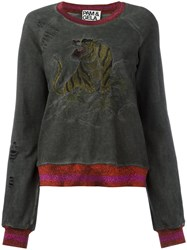Pam And Gela Embroidered Tiger Sweatshirt Green