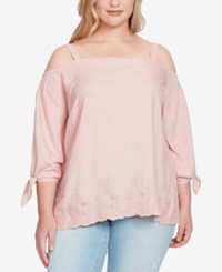 Jessica Simpson Trendy Plus Size Embroidered Off The Shoulder Top Pale Mauve
