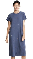 The Great Great. Boxy Dress With Multi Poppy Embroidery Washed Navy