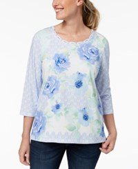 Alfred Dunner Petite Daydreamer Embellished Printed Top Multi