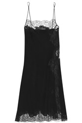 Carine Gilson Chantilly Lace Paneled Silk Georgette Chemise Black