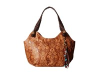 The Sak Indio Satchel Tobacco Floral Embossed Shoulder Handbags Brown