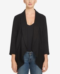 1.State Three Quarter Sleeve Open Front Jacket Rich Black