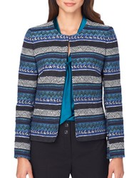 Tahari By Arthur S. Levine Aztec Printed Long Sleeve Jacket Black Teal