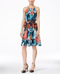Thalia Sodi Printed Halter Chain Neck A Line Dress Only At Macy's Aqua Bliss Combo